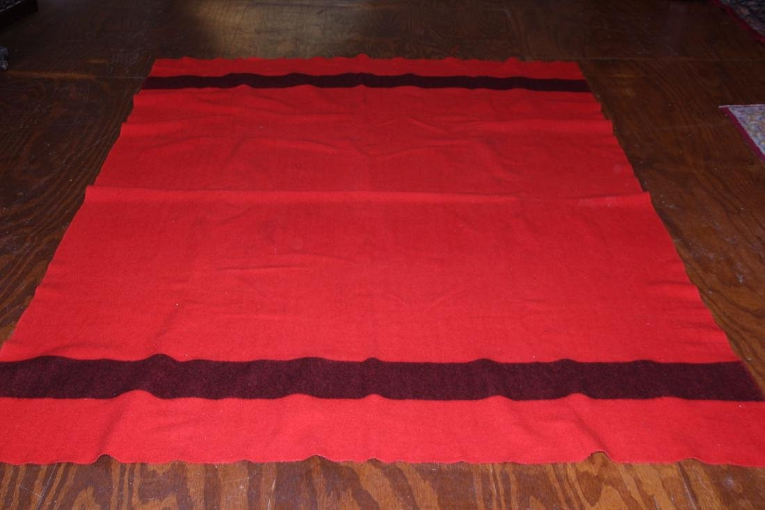 Full size Hudson Bay red and black wool blanket