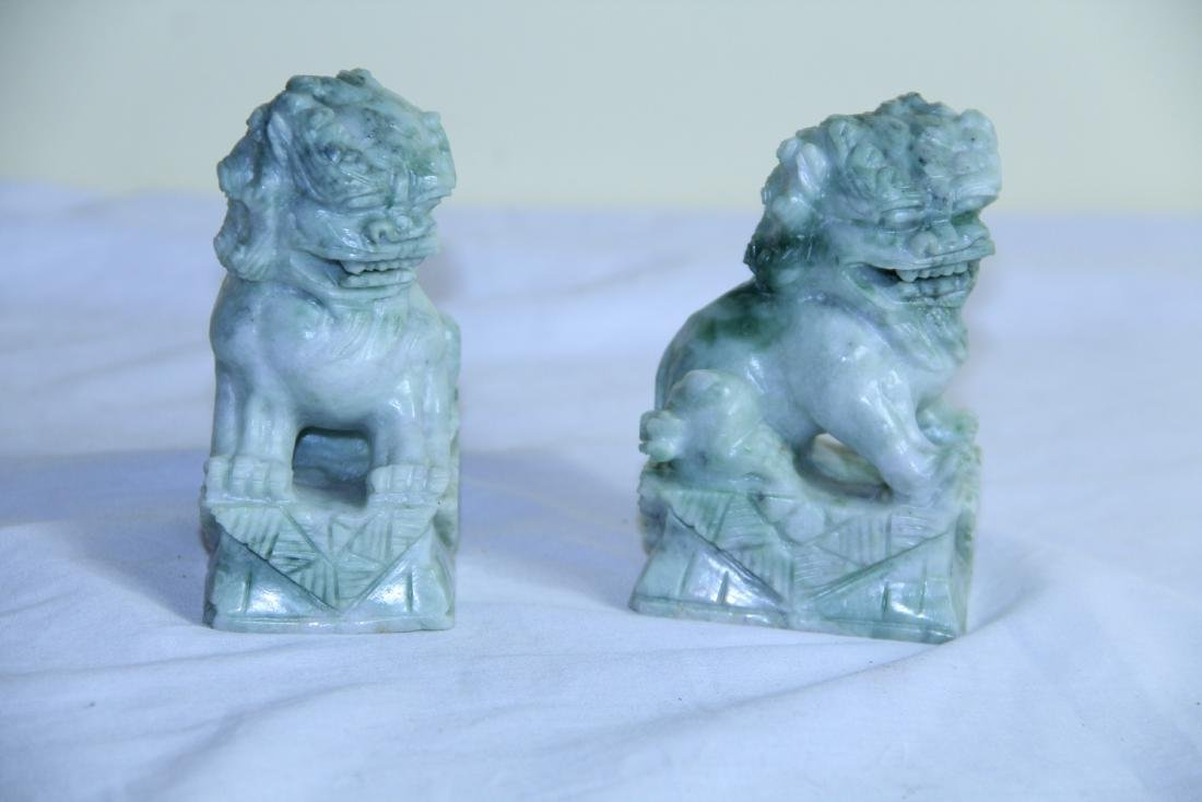 Pair of jade or soap stone Foo dogs - 2