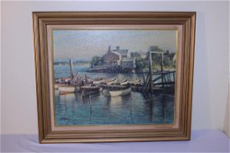 Oil painting of marina signed