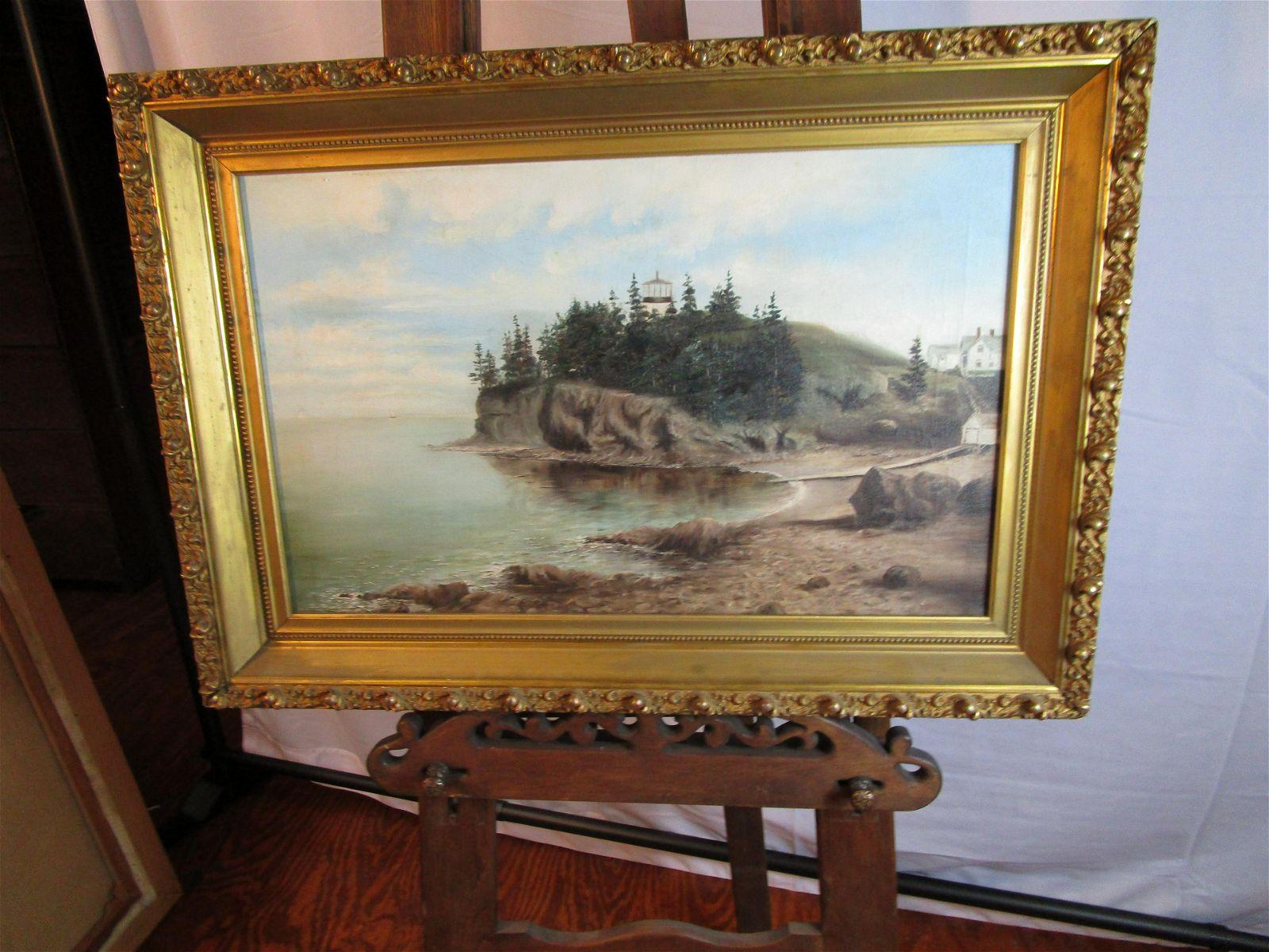 Painting on canvas Owls Head Maine