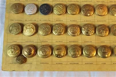 Rare brass military full set of state buttons