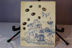 Blue Willow theme reverse painted gold filled buttons