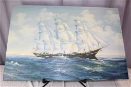 Ship painting signed listed artist Amos Carr