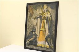Early Russian colored poster of Cardinal Mercier