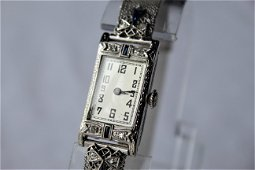 L.Lewitt and Co 18K white gold wrist watch with