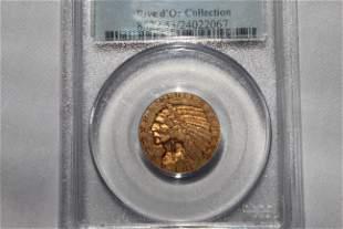 Graded 1911-S AU53 Indian Head 5 Dollar Coin