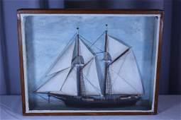 Early American Half Hull Ship Model Diorama