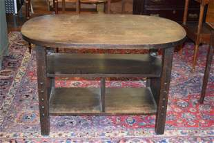 Oval Mission Oak Library Table