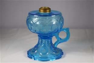 Vintage Light Blue Fingered Kerosene Lamp