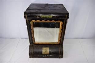 Antique Tin Tole Coffee Box With Mirror