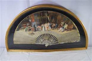 Vintage Hand Painted Folding Hand Fan In Case