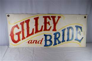 Vintage Giley And Bride Leather AD Sign