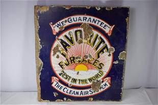 Vintage Double Sided Favorite Furnaces Porcelain Flange