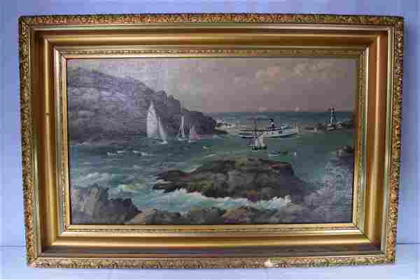 Seascape Oil On Canvas Signed in Gold Carved Frame