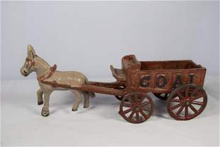 Vintage Donkey Drawn Coal Wagon Cast Iron Toy