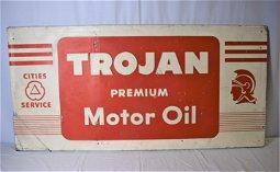 Large Trojan Premium Motor Oil Tin AD Sign
