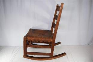 Early Stickley Rocking Chair With Leather Seat
