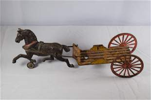 Vintage Cast Iron Horse Drawn Wagon Toy