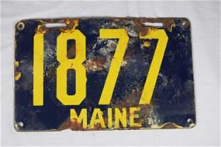 Vintage Porcelain Maine License Plate