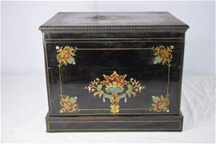 Antique French Inlaid Tantalus Box And Glass Cordial