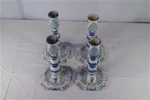 Two Pairs Delft Porcelain Candlesticks