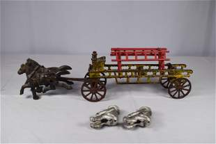 Vintage Cast Iron Horse Drawn Fire Wagon