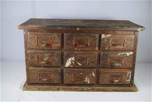 Antique 9 Drawer Spice Cabinet