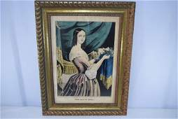 Large Framed Lithograph The Fruit Girl By N. Currier