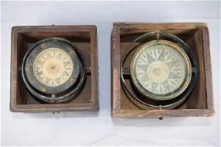 Pair of Vintage Nautical Compasses