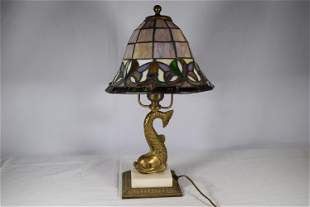 Figural Brass Lamp with Leaded Glass Custom Painted