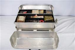 UMCO Corp. Metal Fishing Tackle Box With Contents