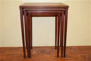 Antique Set of Three Mahogany Nesting Side Tables