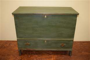 Mid 18th Century Green Painted Blanket Box