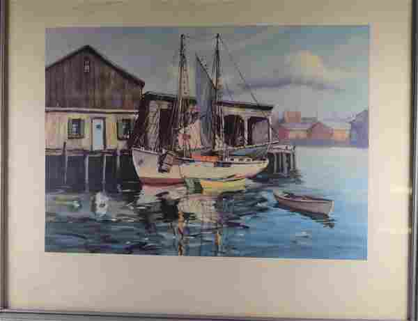 Seascape Print of Watercolor Framed