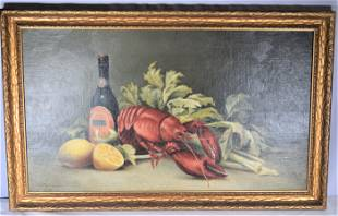 George McConnell Oil on Board of Lobster