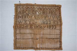 Antique 1833 Sampler