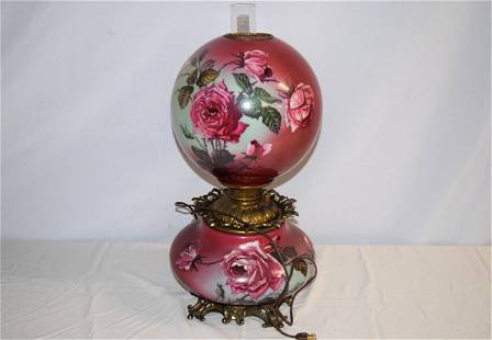 Vintage Gone with the Wind Oil Lamp Electrified