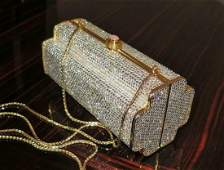 Judith Leiber Gold Rhinestone Minaudiere Clutch Handbag