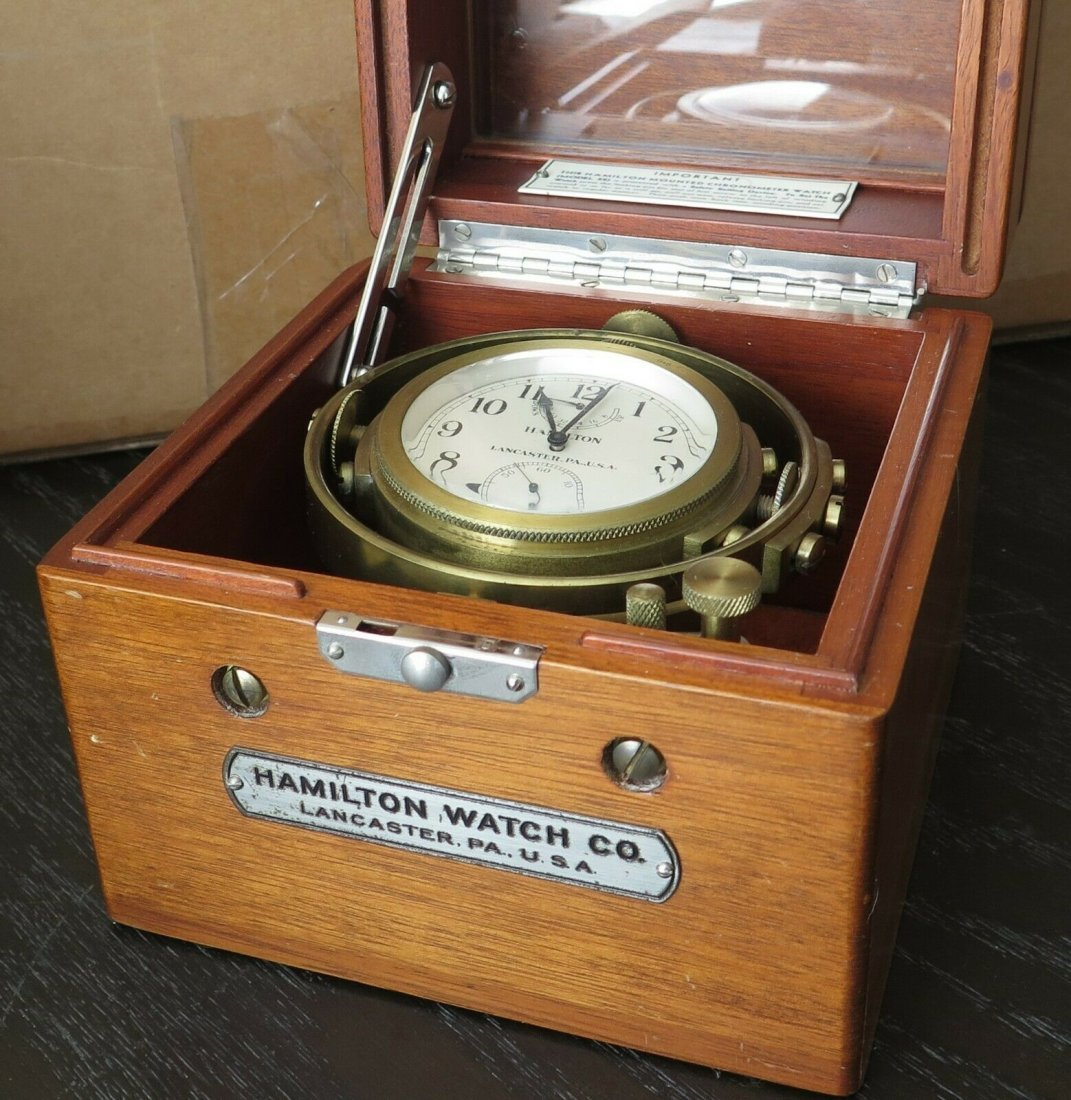 Hamilton mdl 22 ship's clock chronometer Deck watch WW2