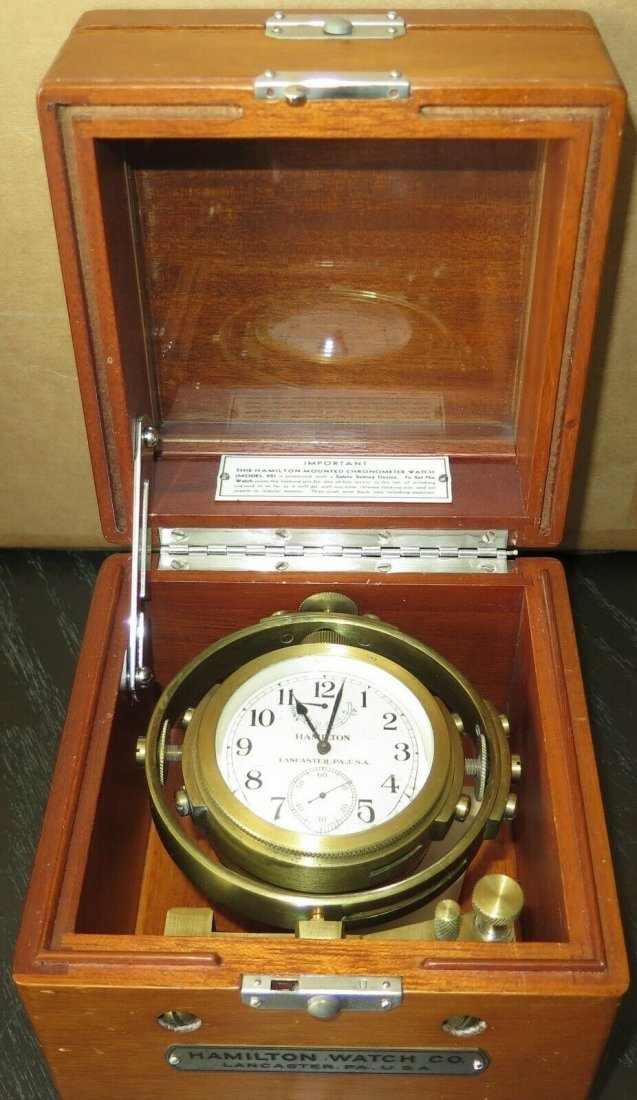 Hamilton mdl 22 ship's clock chronometer Deck watch WW2 - 2