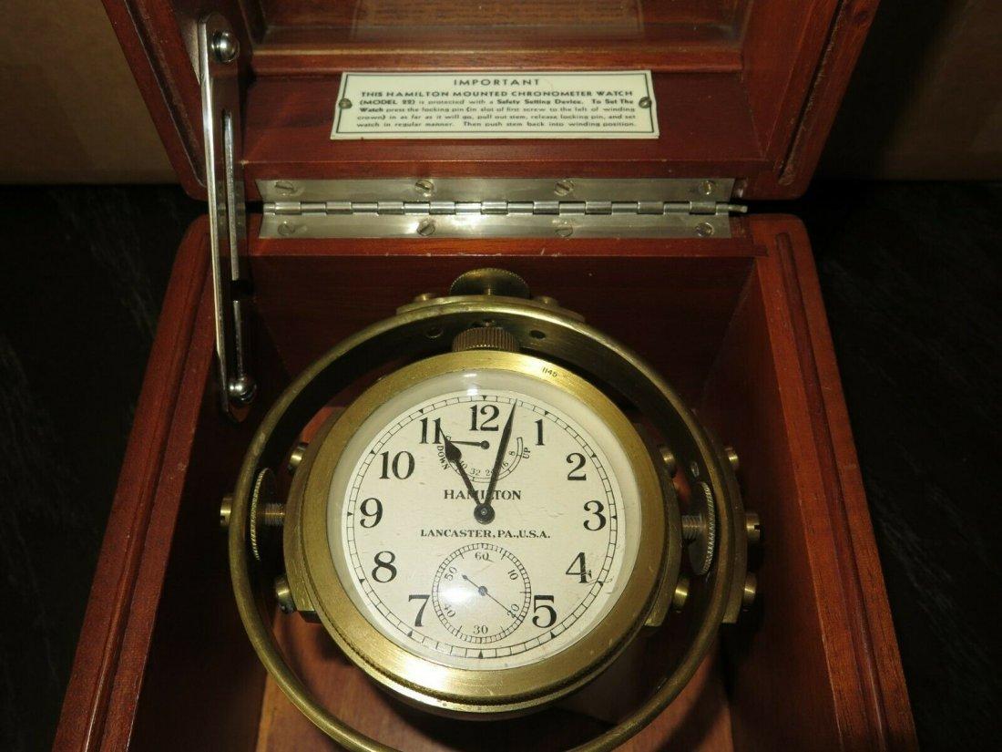Hamilton mdl 22 ship's clock chronometer Deck watch WW2 - 3