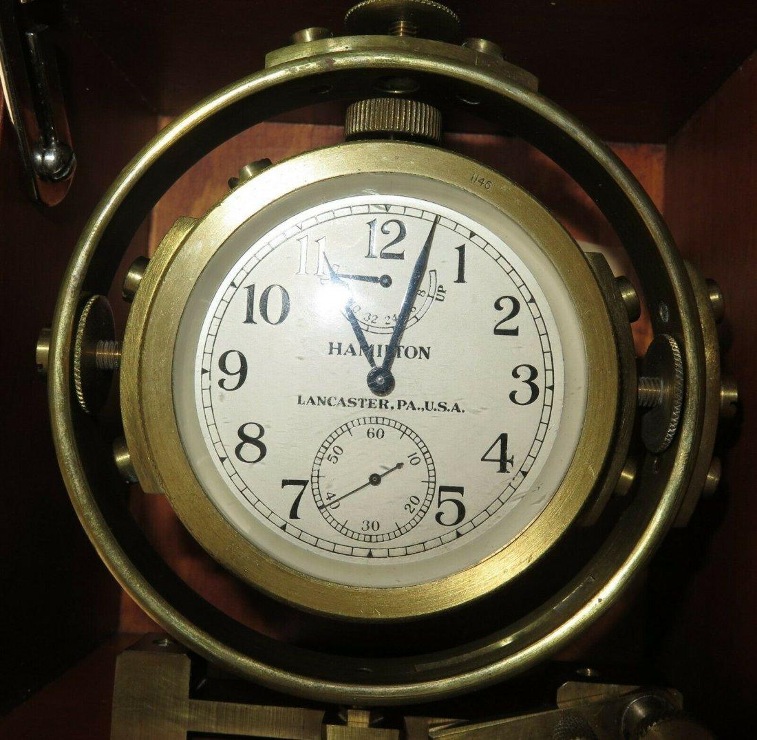 Hamilton mdl 22 ship's clock chronometer Deck watch WW2 - 4