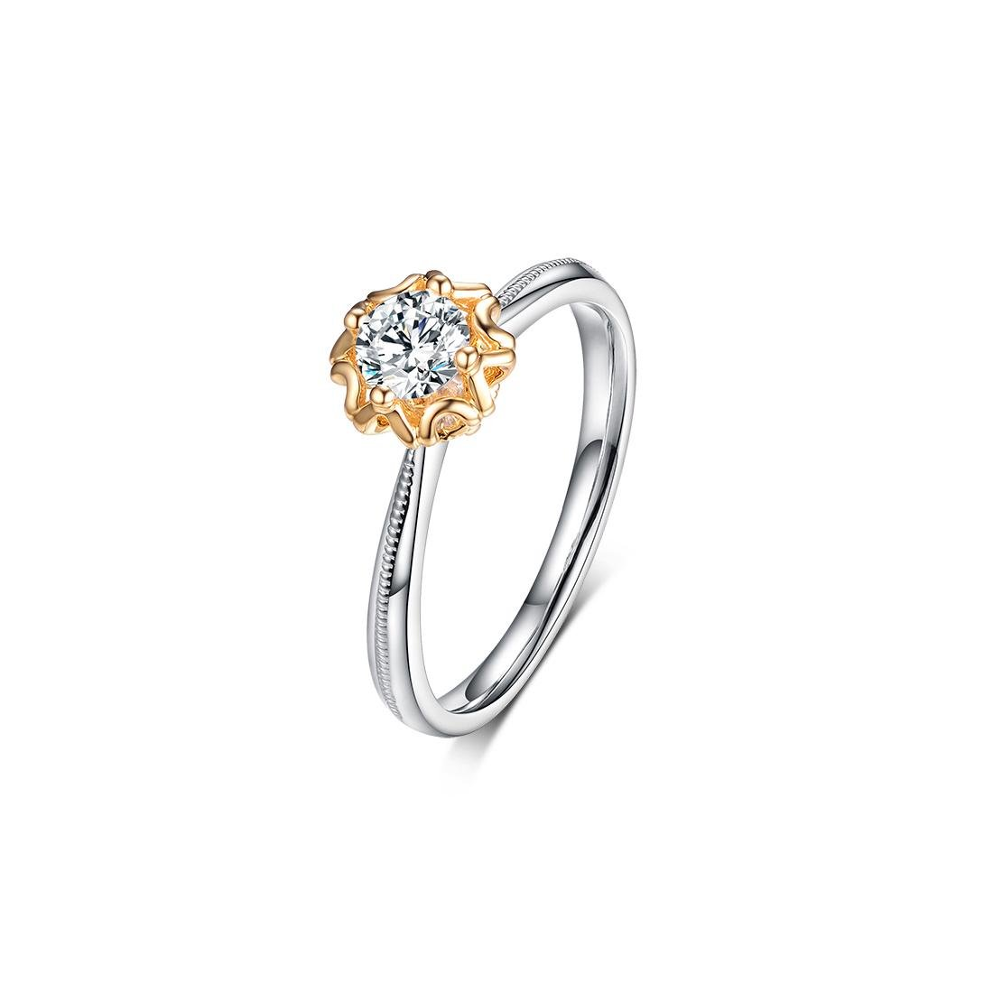 GIA Certified 18k Gold and Diamonds Engagement Ring