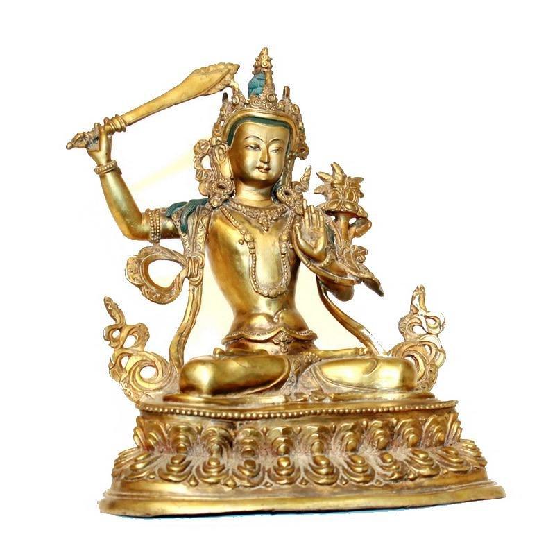 A-RARE GILT BRONZE MANJUSHRI BUDDHA FIGURE MING DYNASTY
