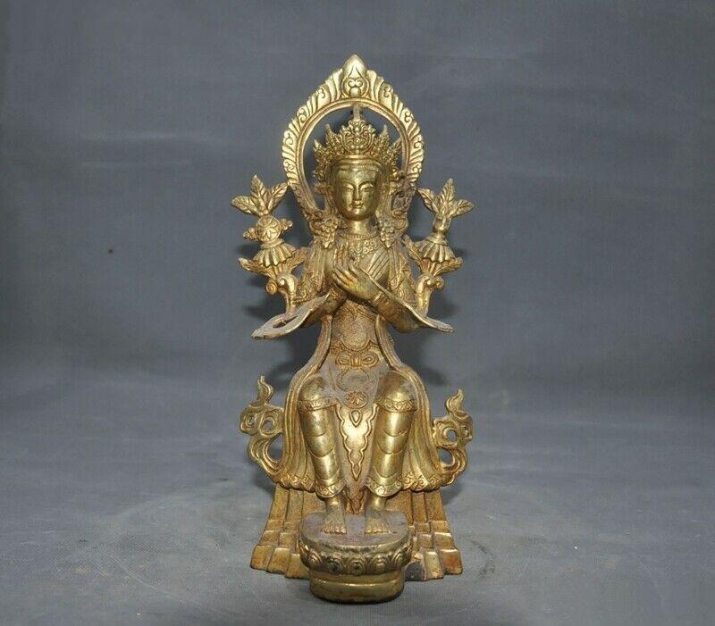 A GILT BRONZE KWAN-YIN BUDDHA FIGURE QING DYNASTY.
