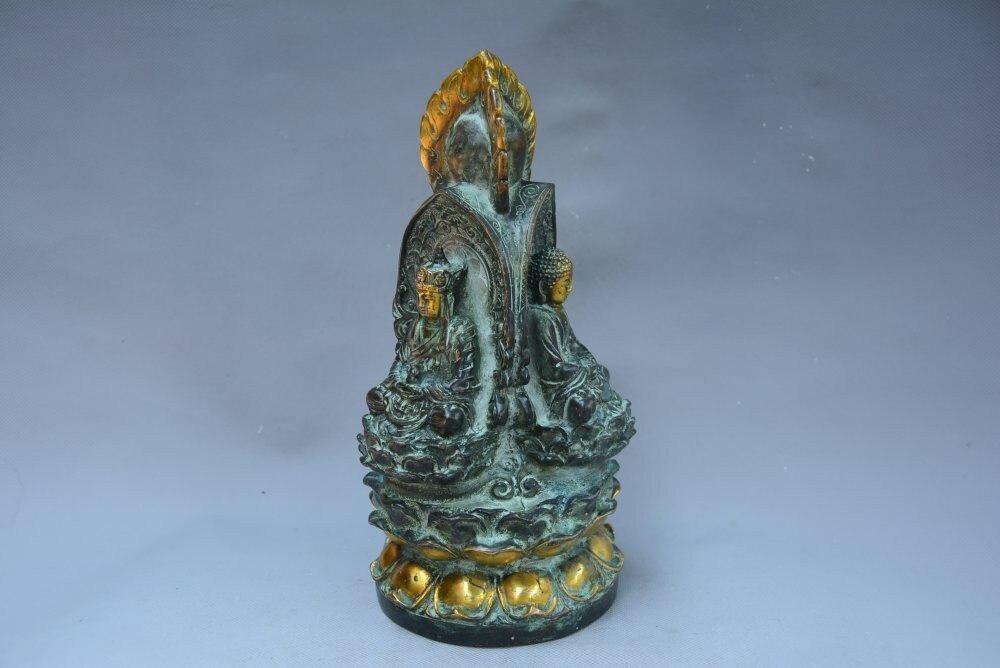 A GILT BRONZE 3-SIDE BUDDHA FIGURE MING DYNASTY.