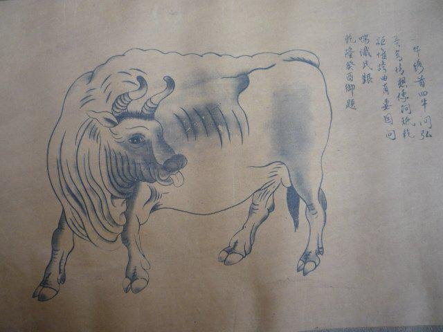 A RARE INK & COLOR BULL PAINTING QING DYNASTY.