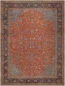 AN-ANTIQUE VINTAGE PERSIAN SULTANABAD LARGE RUG.