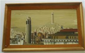 A LANDSCAPE ROOF TOPS SAN FRANCISCO WPA PAINTING