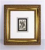 A 1800s BEHAM ENGRAVING ROMAN GODDESS FORTUNA FRAMED